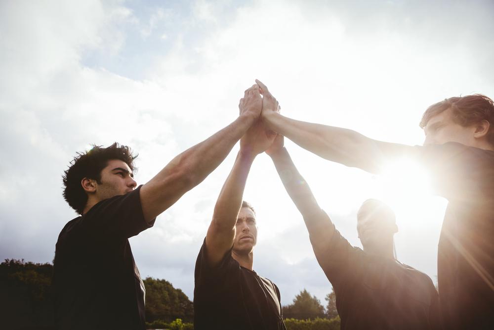 joueurs de rugby avant match
